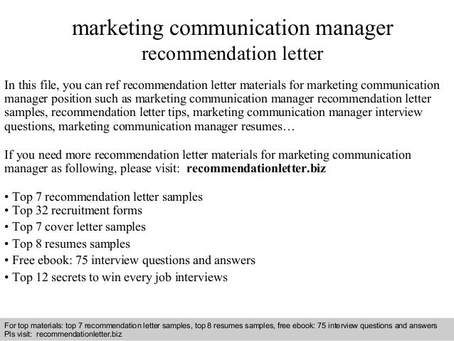 marketing communications cover letters