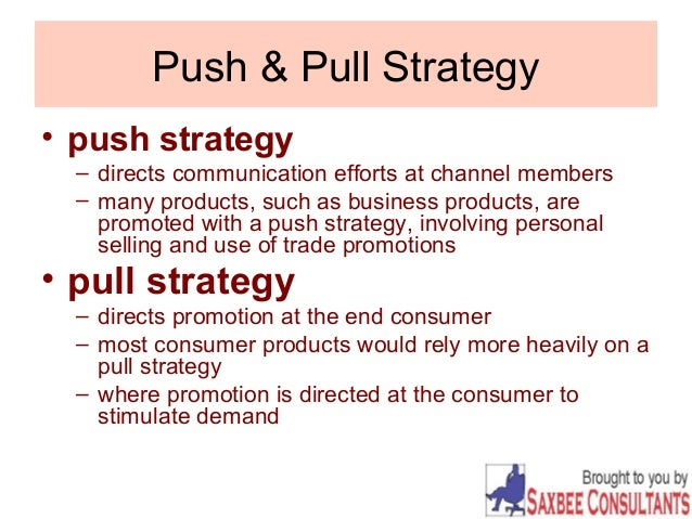 push pull profile strategies Styles of influencing - push-pull research over several years into the behaviour of effective influencers has revealed two basic types of influencing called push and pull.
