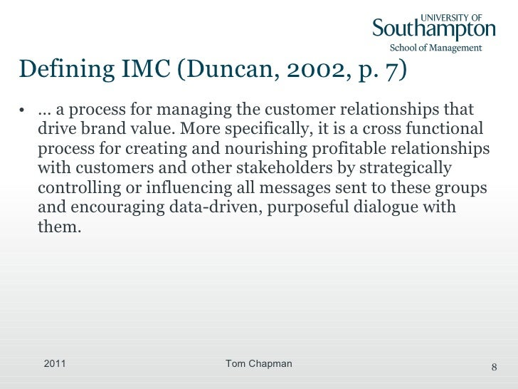 according to duncans zero based marketing communications planning approach