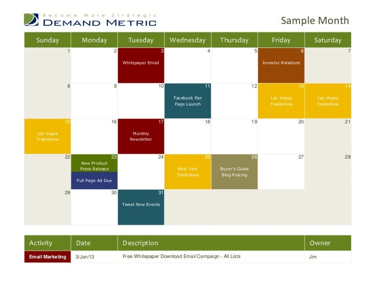 Marketing Communications Calendar 2013