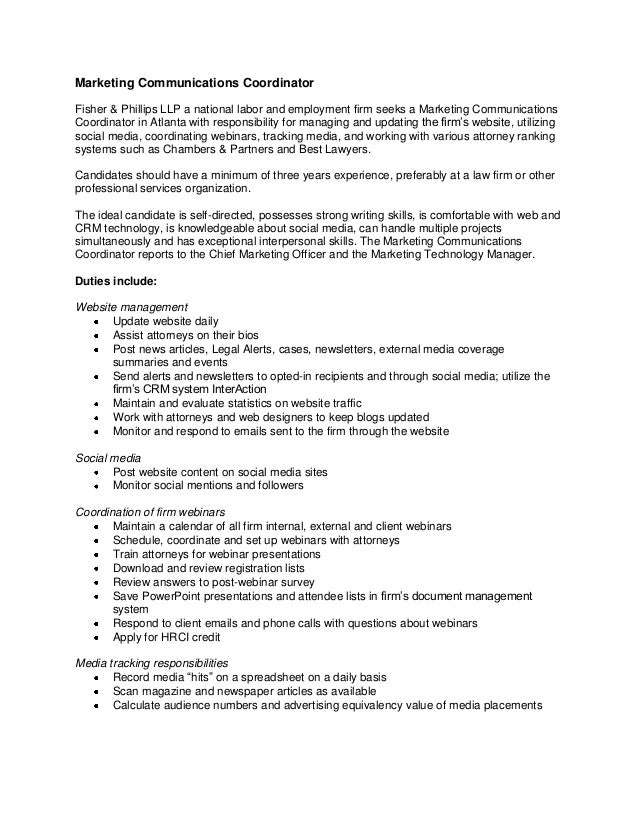 Attractive Marketing Communications Coordinator Job Description. Marketing  Communications Coordinator Fisher U0026 Phillips LLP A National Labor And  Employment Firm Seeks ...