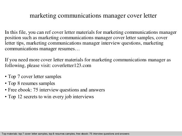 Marketing Communications Manager Cover Letter .