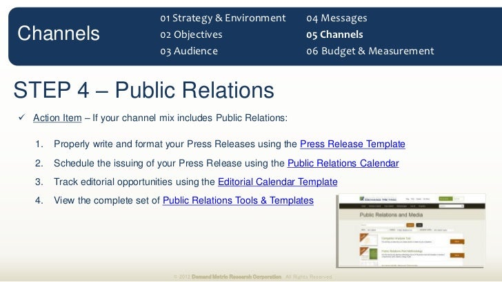 Marketing Communications Planning Guide - Public relations calendar template