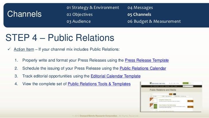 Marketing Communications Planning Guide - Public relations calendar template