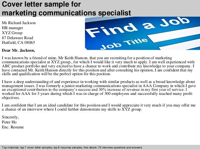 Marketing communications specialist cover letter