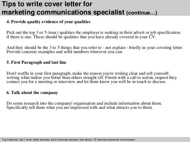 ... 4. Tips To Write Cover Letter For Marketing Communications Specialist  ...