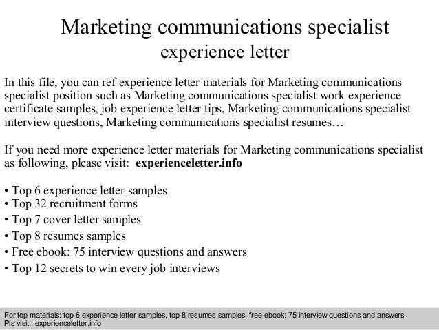 Interview Questions And Answers U2013 Free Download/ Pdf And Ppt File Marketing Communications  Specialist Experience ...