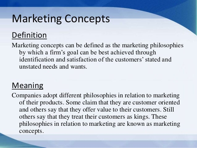 Marketing Concepts- Production, Social, Exchange, Selling ... Marketing Definition