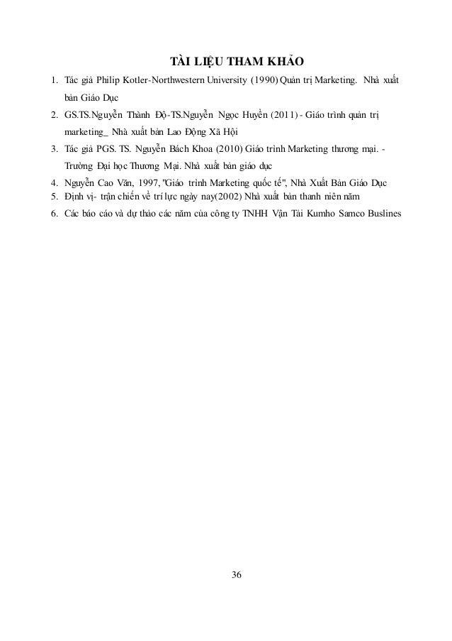 36 TÀI LIỆU THAM KHẢO 1. Tác giả Philip Kotler-Northwestern University (1990) Quản trị Marketing. Nhà xuất bản Giáo Dục 2....