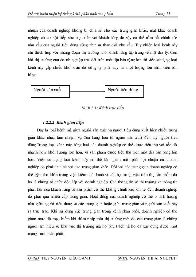 Đề tài: hoàn thiện hệ thống kênh phân phối sản phẩm Trang 15 GVHD: TH.S NGUYỄN KIỀU OANH SVTH: NGUYỄN THỊ ÁI NGUYỆT nhuận ...