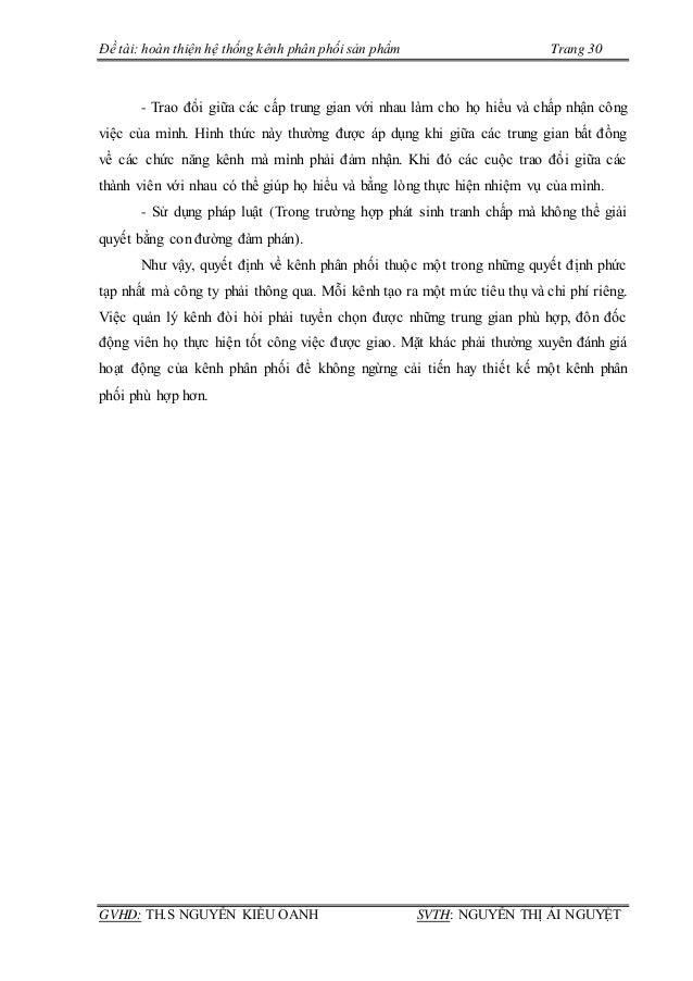 Đề tài: hoàn thiện hệ thống kênh phân phối sản phẩm Trang 30 GVHD: TH.S NGUYỄN KIỀU OANH SVTH: NGUYỄN THỊ ÁI NGUYỆT - Trao...