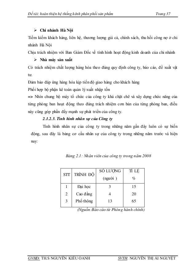 Đề tài: hoàn thiện hệ thống kênh phân phối sản phẩm Trang 37 GVHD: TH.S NGUYỄN KIỀU OANH SVTH: NGUYỄN THỊ ÁI NGUYỆT  Chi ...