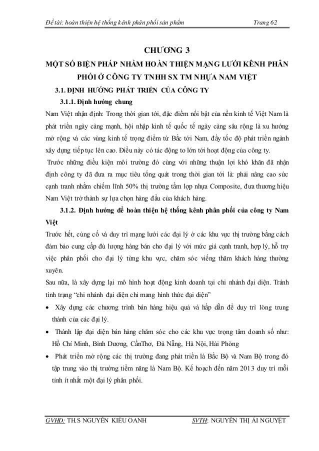 Hoàn thiện hệ thống kênh phân phối tại công ty TNHH SX TM Nhựa Nam Việt