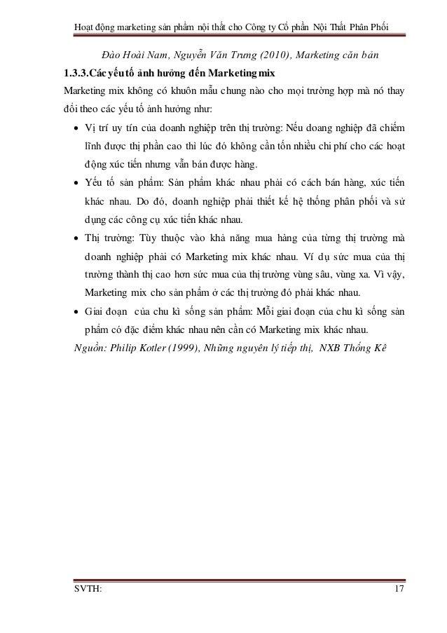 Hoạt động marketing sản phẩm nội thất cho Công ty Cổ phần Nội Thất Phân Phối SVTH: 17 Đào Hoài Nam, Nguyễn Văn Trưng (2010...