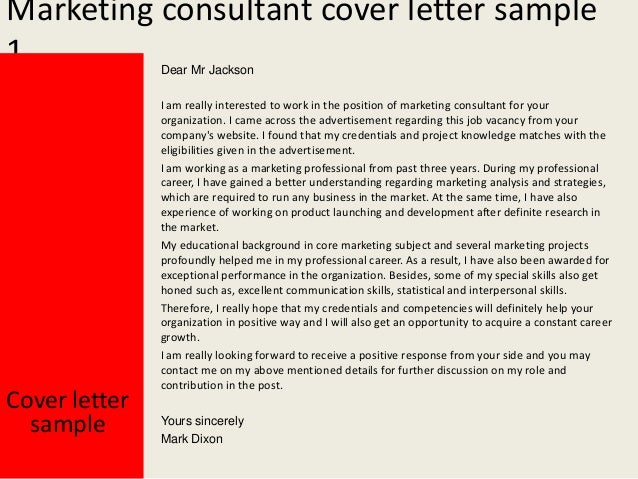 Marketing consultant cover letter