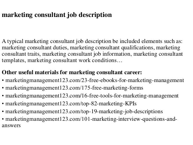 Charming Marketing Consultant Job Description A Typical Marketing Consultant Job  Description Be Included Elements Such As: ...