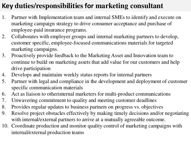 Marketing consultant job description