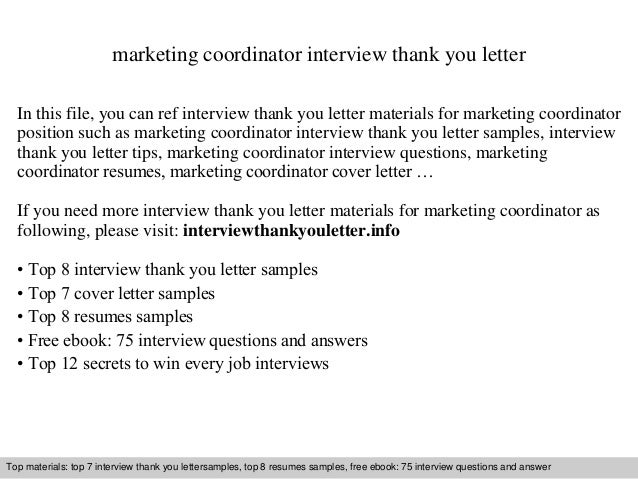marketing coordinator interview thank you letter in this file you can ref interview thank you - Marketing Coordinator Interview Questions And Answers