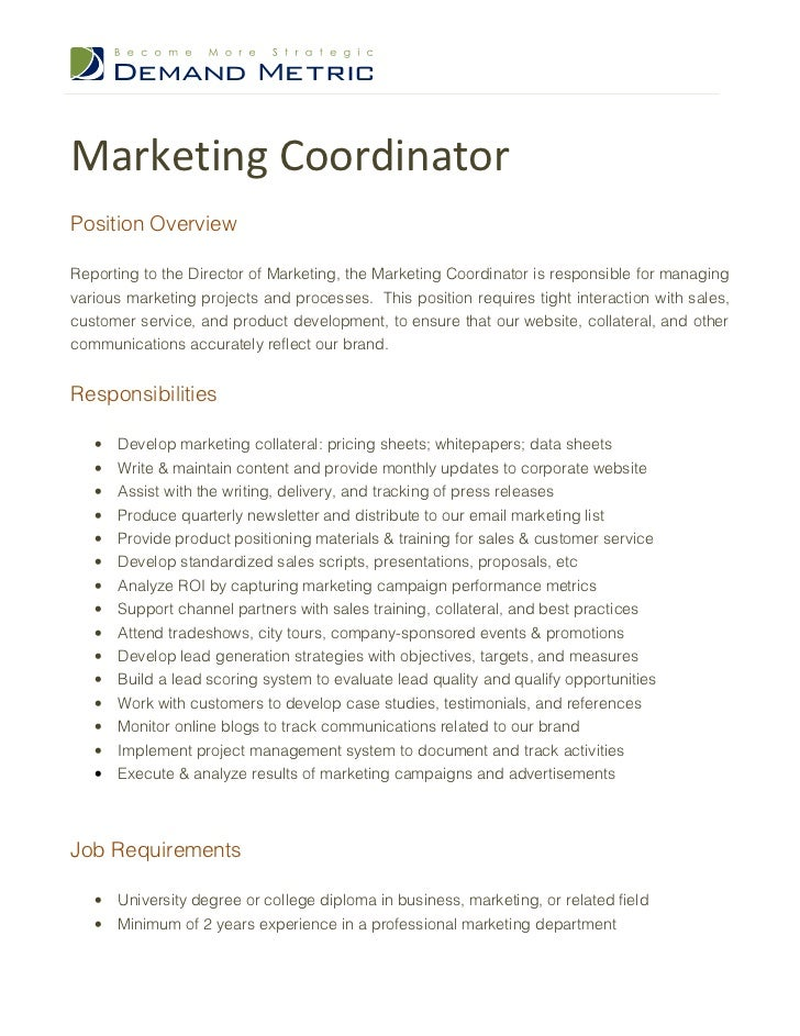 Beautiful Marketing Coordinator Job Description Contemporary ...