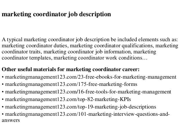 Marketing Coordinator Job Description