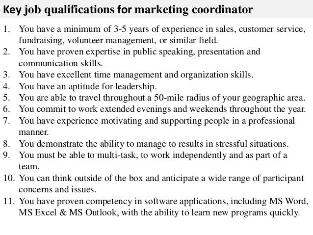 Nice 3. Key Job Qualifications For Marketing Coordinator ...