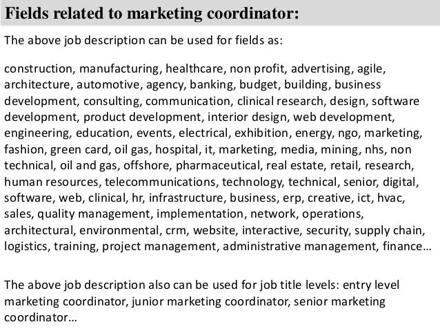 Marketing coordinator job description – Marketing Coordinator Job Description