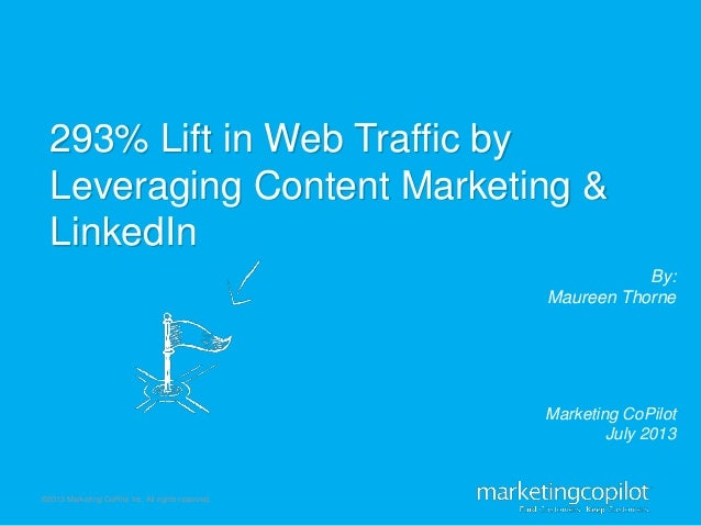 ©2013 Marketing CoPilot Inc. All rights reserved. By: Maureen Thorne 293% Lift in Web Traffic by Leveraging Content Market...