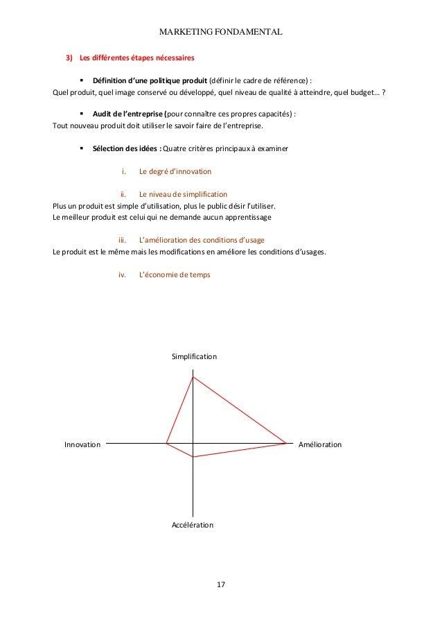MARKETING FONDAMENTAL  3) Lesdifférentesétapesnécessaires  Définitiond'unepolitiqueproduit(définirlecadreder...