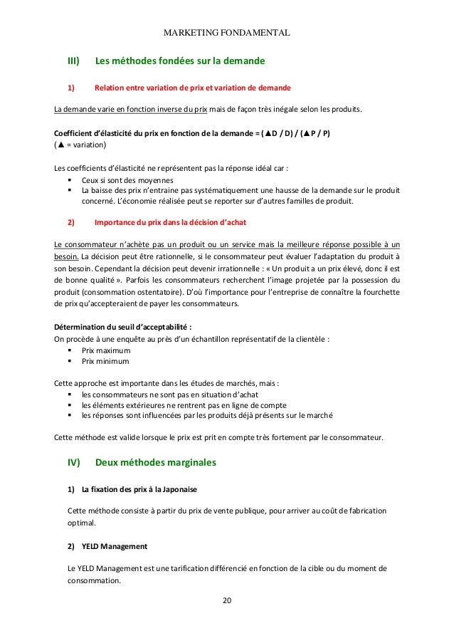 MARKETING FONDAMENTAL   III)  Lesméthodesfondéessurlademande   1) Relationentrevariationdeprixetvariationde...