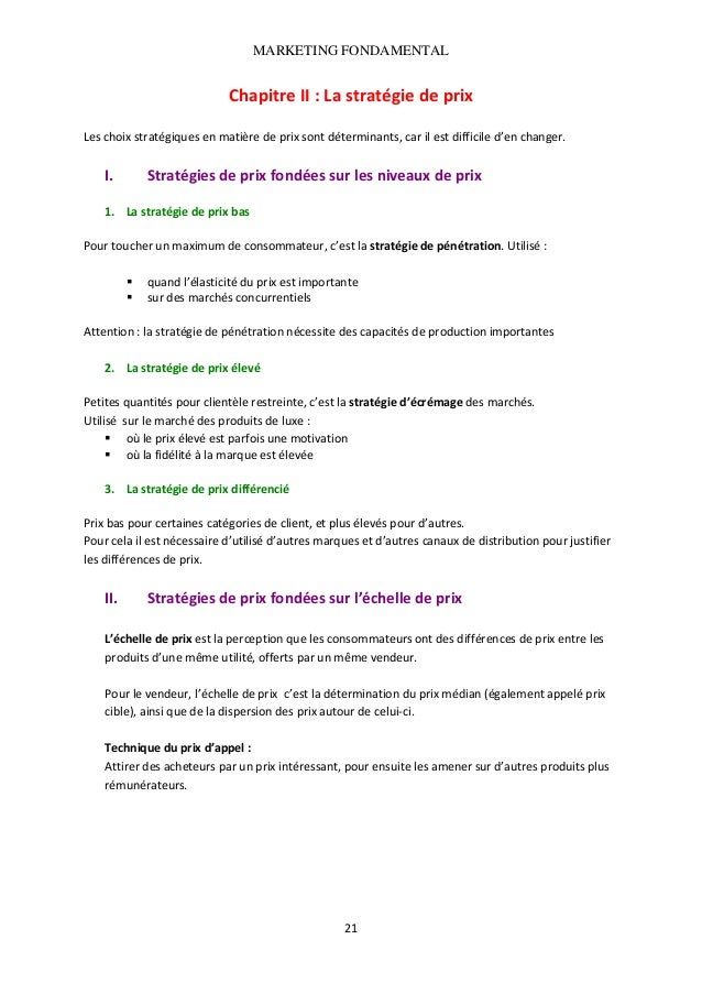 MARKETING FONDAMENTAL   ChapitreII:Lastratégiedeprix  Leschoixstratégiquesenmatièredeprixsontdéterminants...