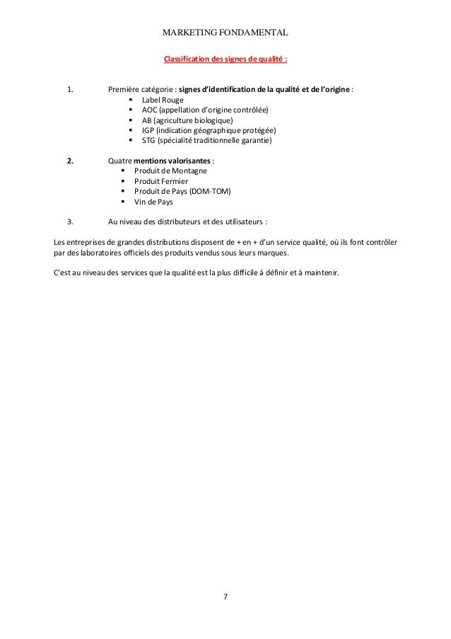 MARKETING FONDAMENTAL  Classificationdessignesdequalité:   1.  Premièrecatégorie:signesd'identificationdela...