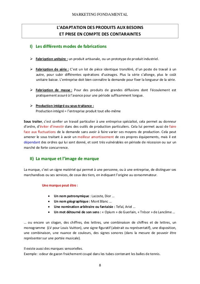 MARKETING FONDAMENTAL   L'ADAPTATIONDESPRODUITSAUXBESOINS ETPRISEENCOMPTEDESCONTARAINTES   I) Lesdifférents...