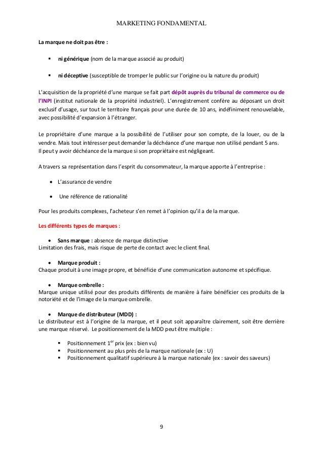 MARKETING FONDAMENTAL  Lamarquenedoitpasêtre:  nigénérique(nomdelamarqueassociéauproduit)  nidéceptiv...