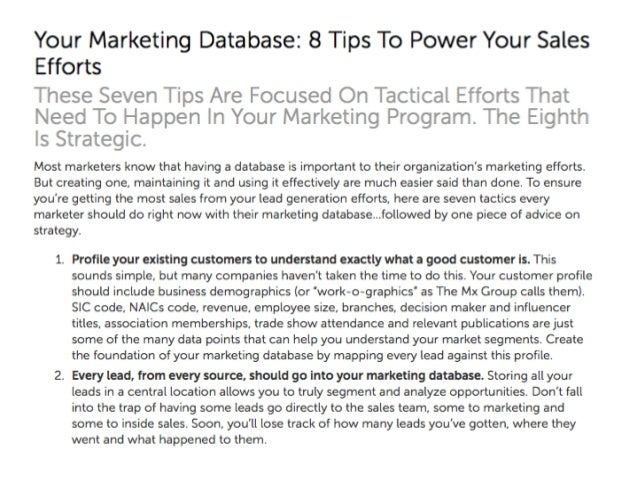Marketing database  8 tips to power sales