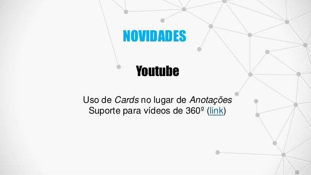 Youtube Uso de Cards no lugar de Anotações Suporte para vídeos de 360º (link) NOVIDADES