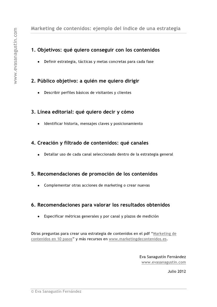 Marketing de contenidos: ejemplo del índice de una estrategiawww.evasanagustin.com                        1. Objetivos: qu...