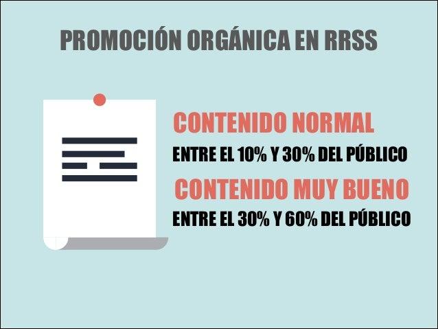 PROMOCIÓN ORGÁNICA EN RRSS CONTENIDO NORMAL ENTRE EL 10% Y 30% DEL PÚBLICO  CONTENIDO MUY BUENO ENTRE EL 30% Y 60% DEL PÚB...