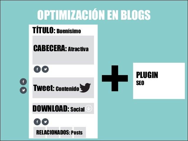 OPTIMIZACIÓN EN BLOGS TÍTULO: Buenísimo CABECERA: Atractiva  Tweet: Contenido DOWNLOAD: Social RELACIONADOS: Posts  +  PLU...