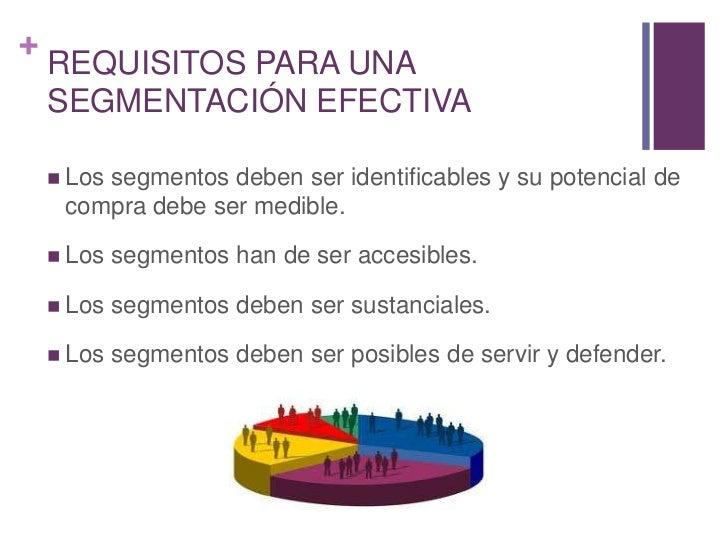 REQUISITOS PARA UNA SEGMENTACIÓN EFECTIVA<br />Los segmentos deben ser identificables y su potencial de compra debe ser me...