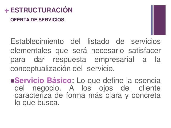 ESTRUCTURACIÓN<br />OFERTA DE SERVICIOS<br />Establecimiento del listado de servicios elementales que será necesario satis...