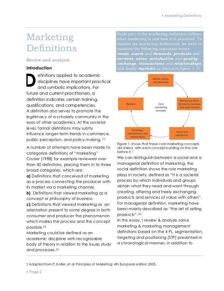  Marketing DefinitionsMarketing                                                          Each part of the marketing defin...