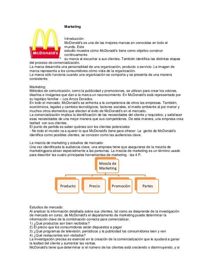 Marketing                      Introducción:                      McDonalds es una de las mejores marcas en conocidas en t...