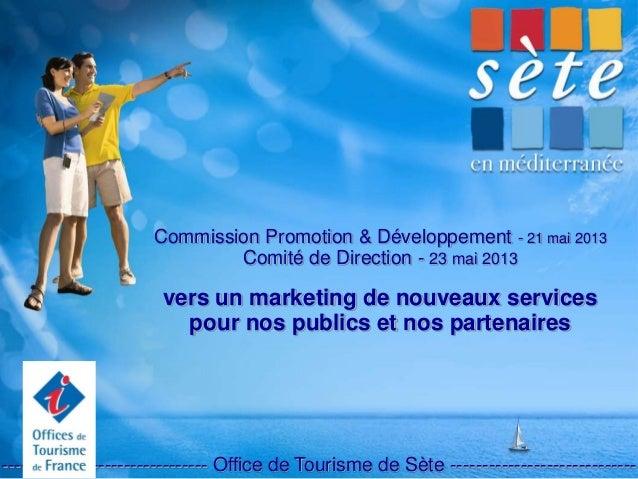 Commission Promotion & Développement - 21 mai 2013 Comité de Direction - 23 mai 2013 vers un marketing de nouveaux service...