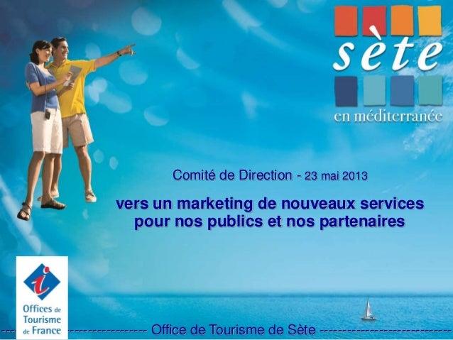 Comité de Direction - 23 mai 2013 vers un marketing de nouveaux services pour nos publics et nos partenaires -------------...