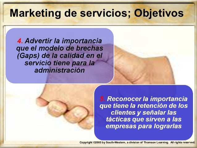 Copyright ©2005 by South-Western, a division of Thomson Learning. All rights reserved. Marketing de servicios; Objetivos