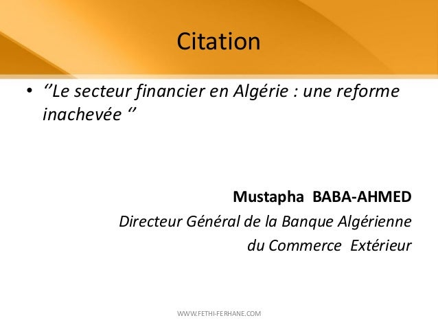 Marketing des produits financiers for Banque algerienne du commerce exterieur