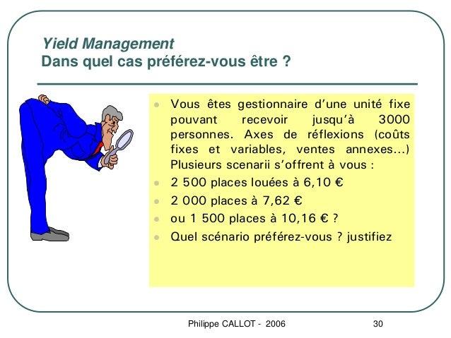 Yield ManagementDans quel cas préférez-vous être ?                 Vous êtes gestionnaire d'une unité fixe                ...