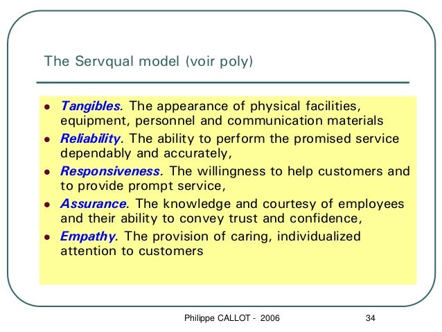 The Servqual model (voir poly)  Tangibles. The appearance of physical facilities,  equipment, personnel and communication ...