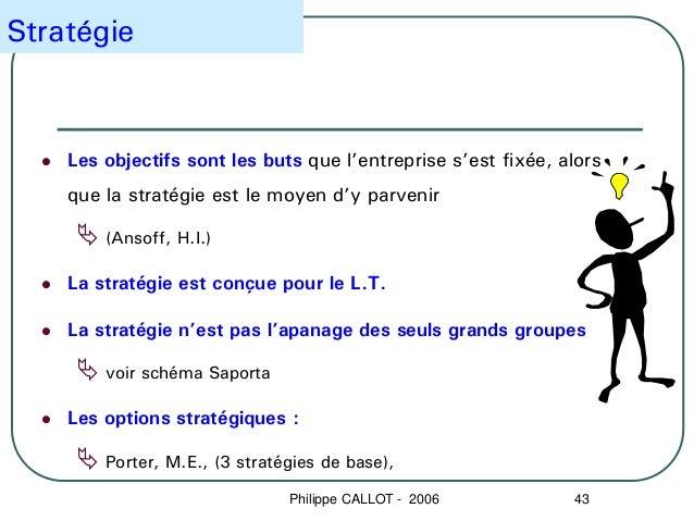 Stratégie    Les objectifs sont les buts que l'entreprise s'est fixée, alors    que la stratégie est le moyen d'y parvenir...