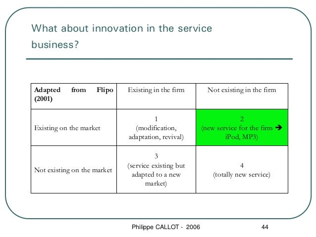 What about innovation in the servicebusiness?Adapted     from    Flipo    Existing in the firm        Not existing in the ...